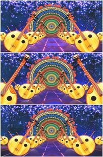新疆舞蹈月琴乐器舞台背景视频 mp4