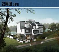 新中式别墅建筑鸟瞰图JPG