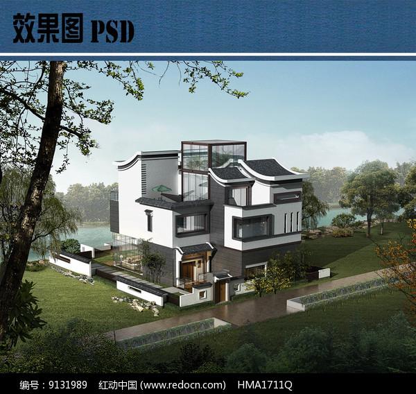 新中式别墅建筑鸟瞰图PSD图片