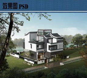 新中式别墅建筑鸟瞰图PSD