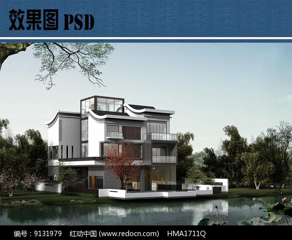 新中式别墅建筑效果图PSD图片