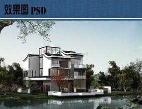 新中式别墅建筑效果图PSD