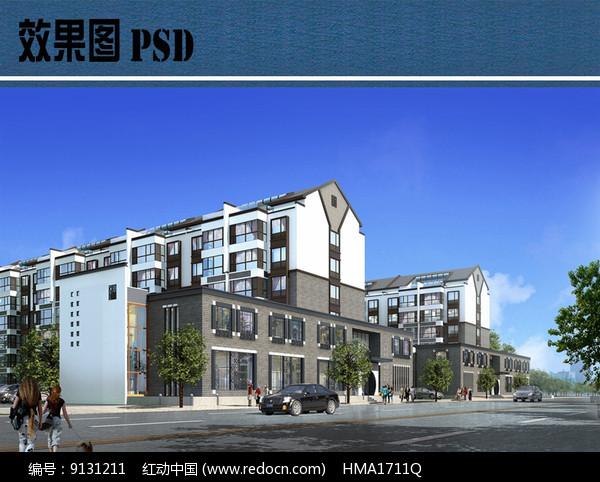 新中式住宅区建筑效果图PSD图片