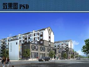 新中式住宅区建筑效果图PSD
