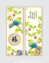 中国风办公室挂画花鸟二联画
