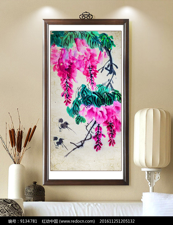 中式花装饰画设计图片