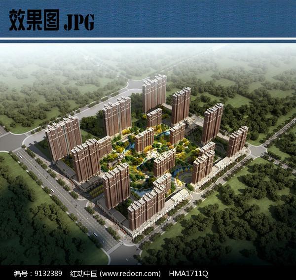 住宅区景观设计鸟瞰图JPG图片