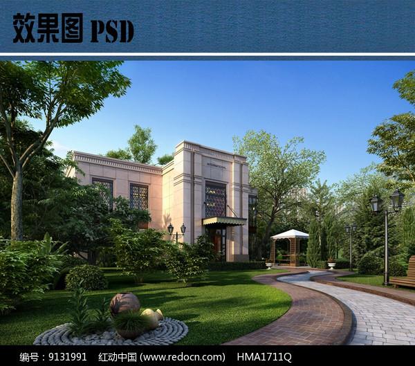 住宅区绿化效果图PSD图片