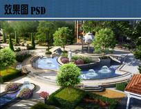 住宅区入口景观效果图PSD
