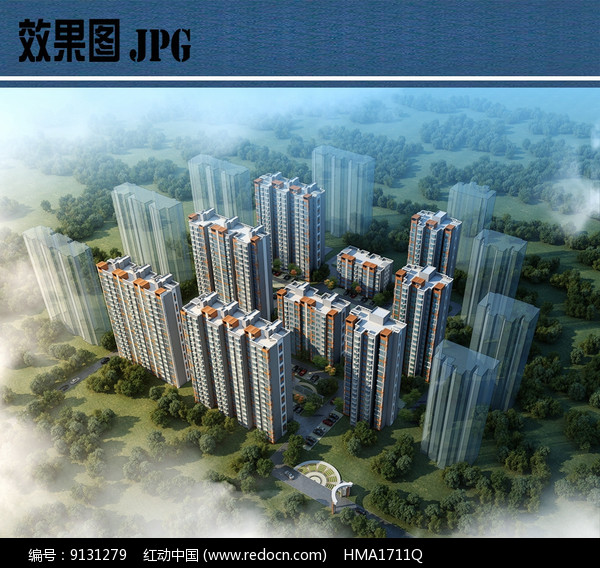 住宅小区鸟瞰效果图JPG图片