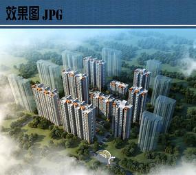 住宅小区鸟瞰效果图JPG