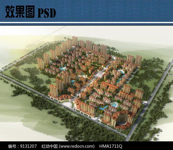 住宅组团整体鸟瞰图PSD图片