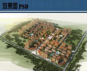 住宅组团整体鸟瞰图PSD