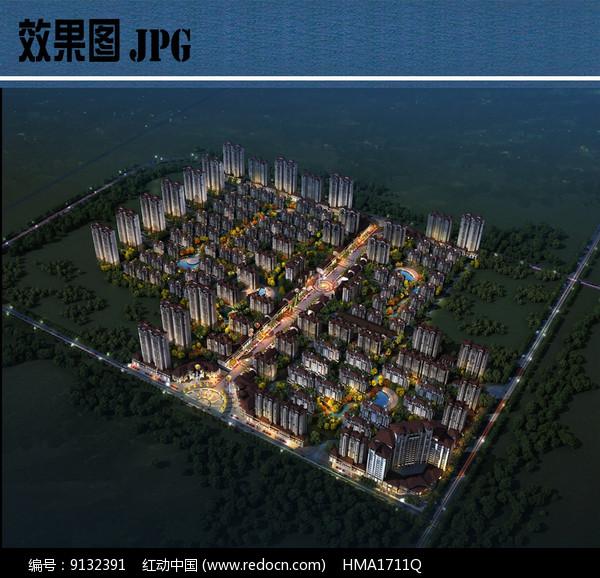 住宅组团整体夜景鸟瞰图JPG图片
