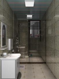 3D简约洗手间模型与效果图