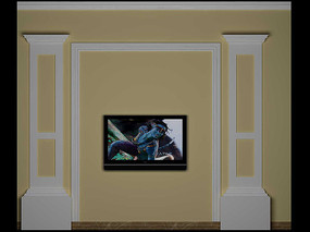 3D欧式电视背景模型与效果图