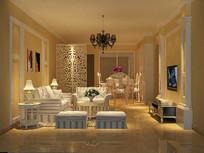 3D欧式客厅餐厅模型与效果图