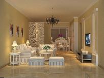 3D欧式客厅模型与效果图
