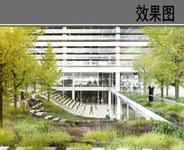 办公大楼庭院景观效果图