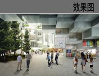 超现代建筑中庭效果图