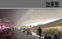 地下艺术展览馆建筑内部效果图