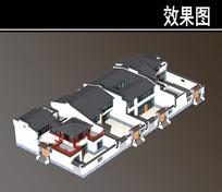 二层北方灰色屋檐四合院效果图