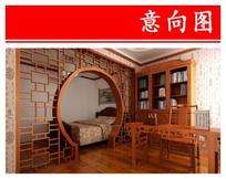 复古布局书房卧室 JPG