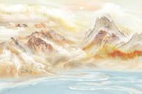 高清大理石山水画背景墙图