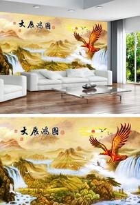 国画山水中式电视背景墙
