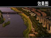 海关区石河河道南侧公园鸟瞰图