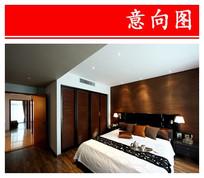 黑色木色结合卧室