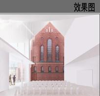 教堂建筑内部效果图