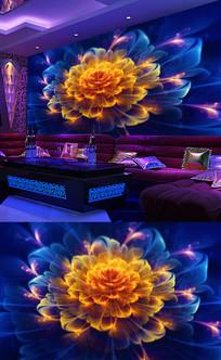 蓝色大气酒吧背景墙壁画