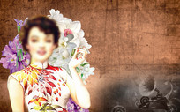 老上海胶片美女工装背景墙