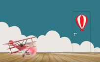 清新彩色天空飞机热气球背景墙