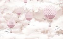 清新简约彩色天空热气球背景墙