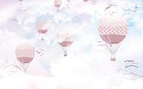 清新简约天空降落伞白云背景墙