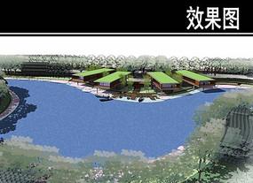 青云河生态滨水会所景观效果图