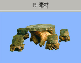 生态木石板景观家具PS素材