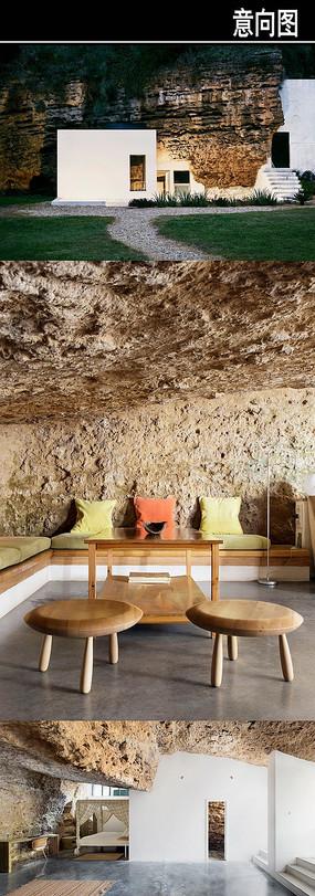 特色洞穴民宿客栈意向图