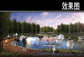 渭河景观水上游乐段效果图