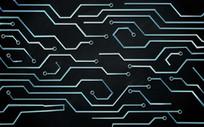 现代抽象蓝色科技酒吧背景墙
