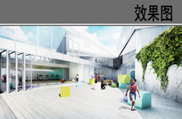 学校建筑中庭效果图