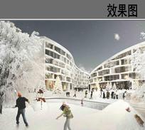 住宅区雪景效果图