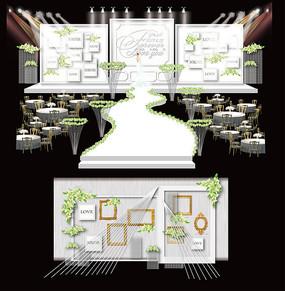 白绿色简约风格主题婚礼设计