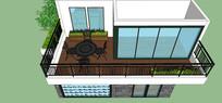 别墅住宅阳台花园模型
