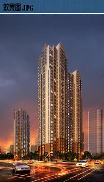 高层住宅建筑夜景效果图JPG