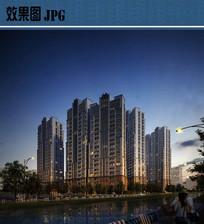 高层住宅夜景效果图JPG