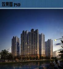 高层住宅夜景效果图PSD