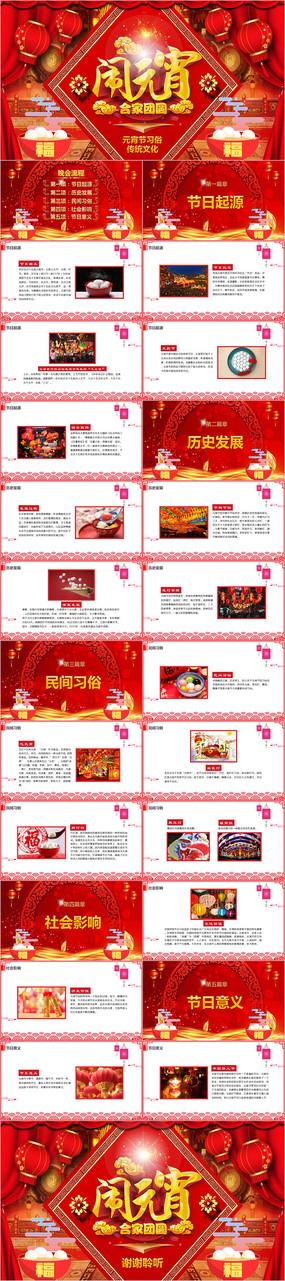 红色元宵节节日习俗课件PPT